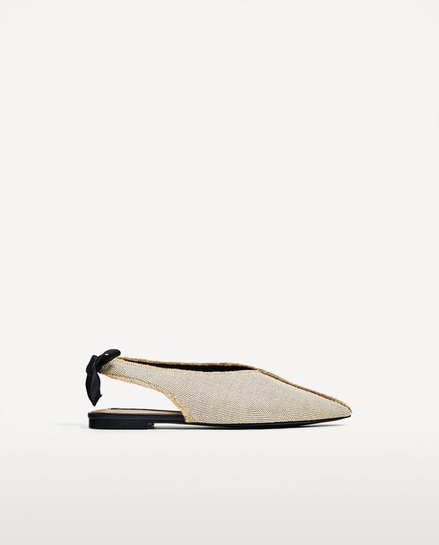 Zara Frayed Ballerina Flats