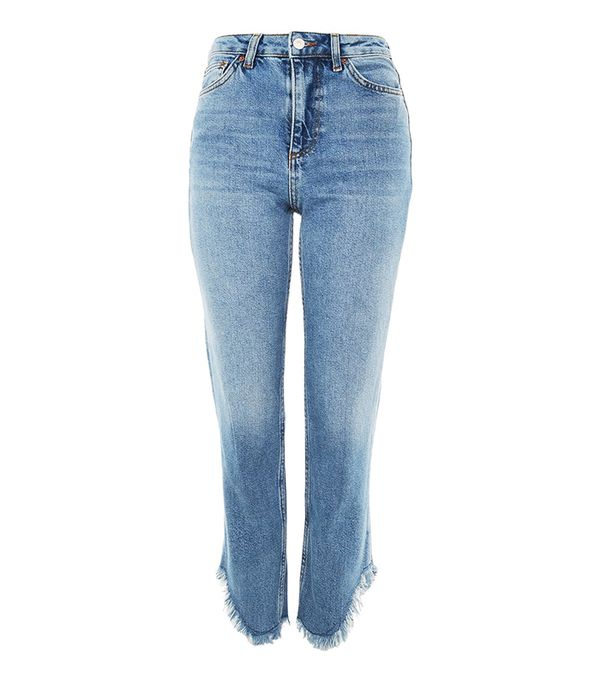 MOTO Mid Blue Fringe Hem Straight Leg Jeans