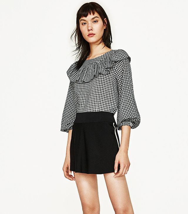 Zara Frilled Gingham Top