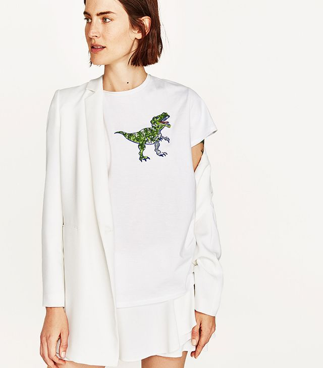 Zara Dinosaur Appliqué Short Sleeve T-Shirt