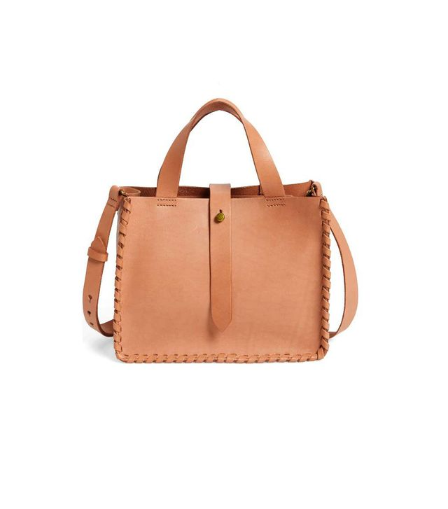 Whipstitch Mini Leather Tote Bag - Brown