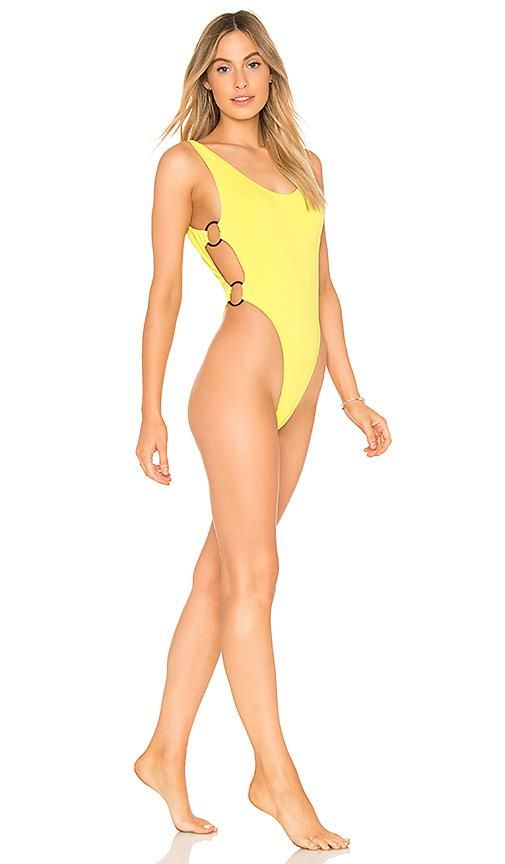 High Cut One Piece in Lemon. - size M (also in L,S,XS)