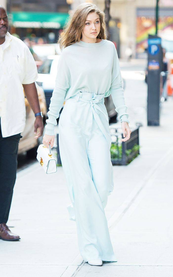 Gigi Hadid pale green outfit