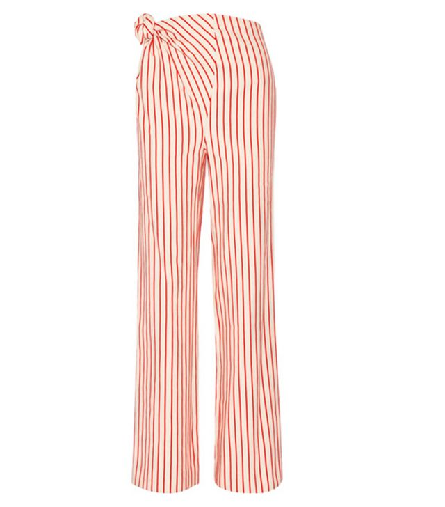 Top Knot Striped Linen And Cotton-blend Pants