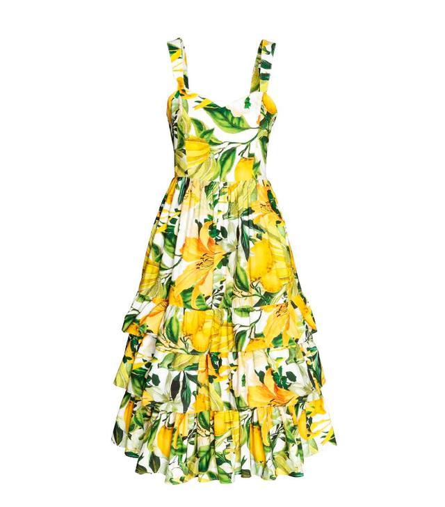 H&M lemon print cotton poplin dress