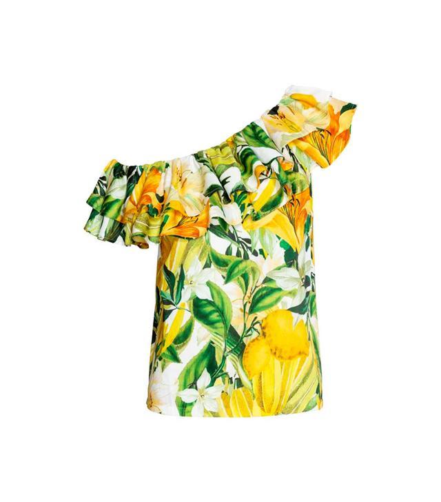 H&M lemon print one shoulder blouse