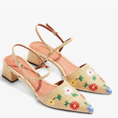 Jasmine Embroidered Mid Heel Shoes