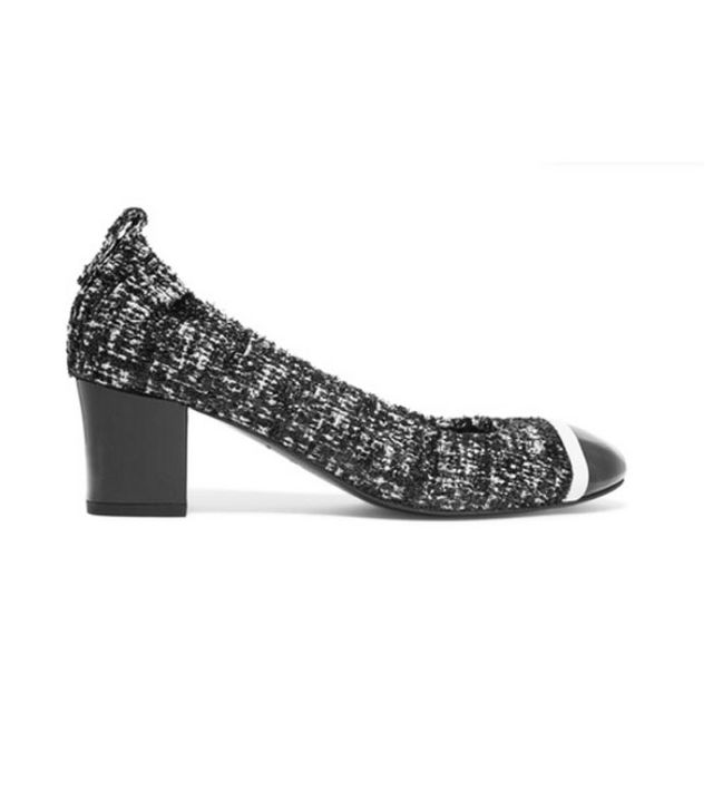 Patent Leather-trimmed Boucle-tweed Pumps