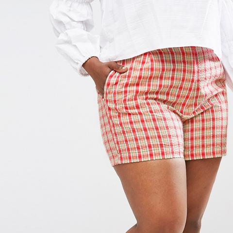 High-Waist Checked Shorts