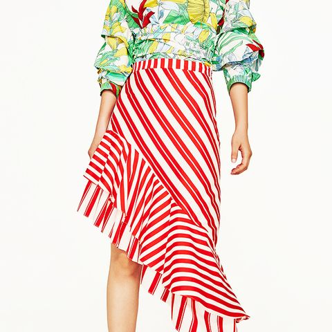 Striped Skirt With Frill
