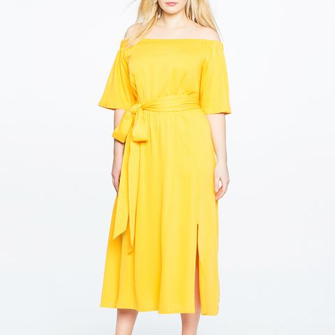 Off the Shoulder Midi Dress With Wrap Skirt