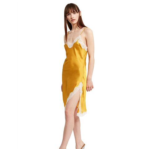 Bias-Cut Lace Trim Slip Dress