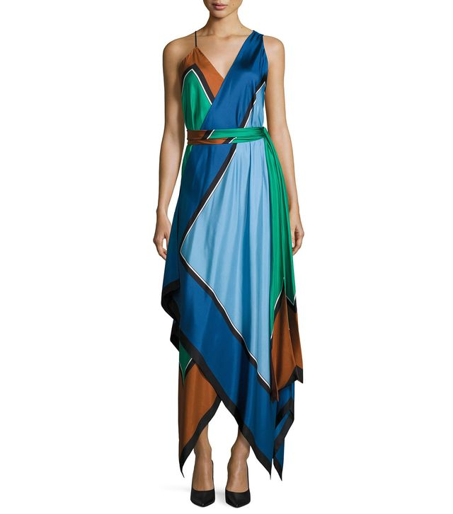 Colorblock Silk Scarf-Hem Midi Dress