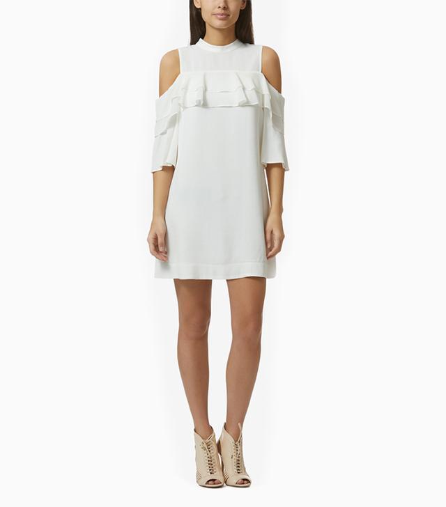 Avec Les Filles Cold Shoulder Ruffle Dress