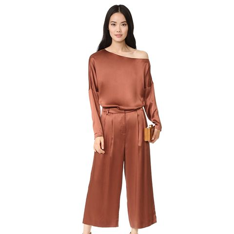 Asymmetric Silk-Satin Top