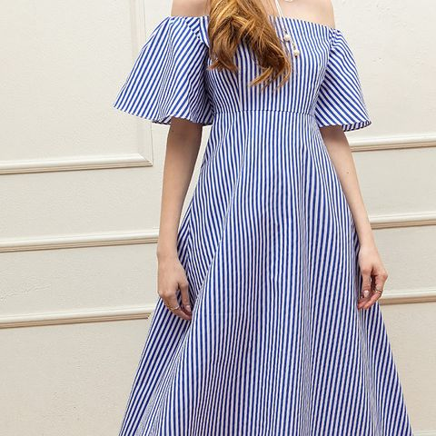 Cheryl Stripe Off-the-Shoulder Dress