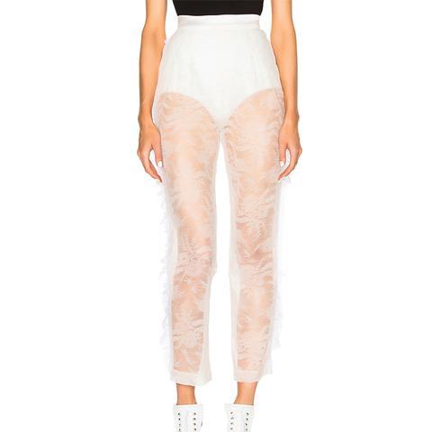 Chantilly Lace Side Seam Ruffle Trousers
