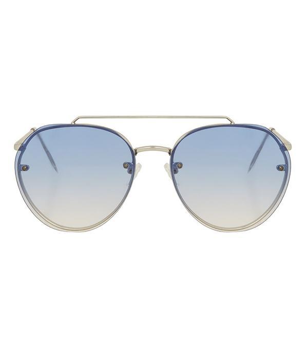 tinted blue aviator sunglasses