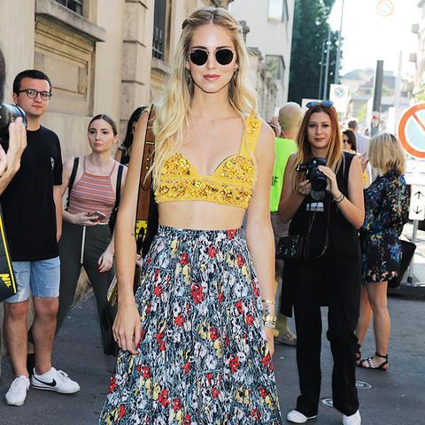 Chiara Ferragni Wears Velvet Shoes for a Summer Look