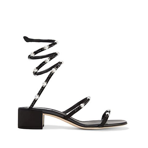 Crystal and Faux Pearl-Embellished Nubuck Sandals