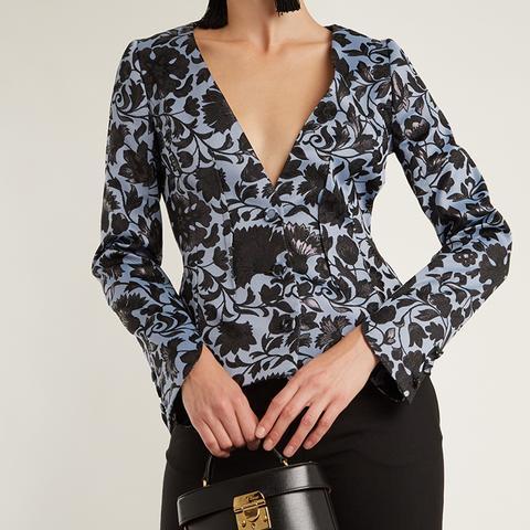 May Floral-Jacquard Jacket