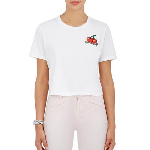 Women's Cherry-Print Cotton Crop T
