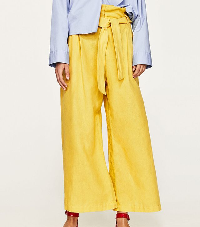 Zara Linen Trousers With Belt