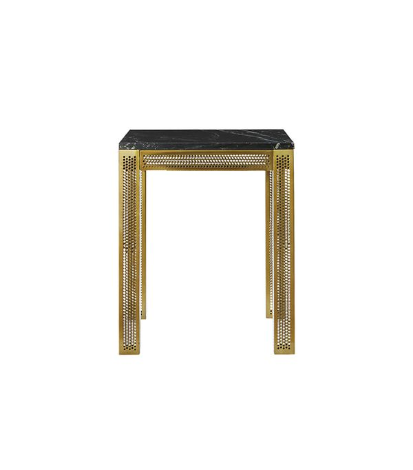perforated black marble side table