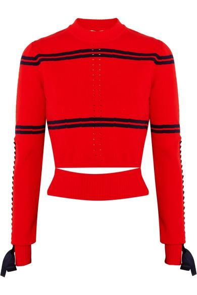 Cutout Faille-trimmed Striped Pointelle-knit Sweater