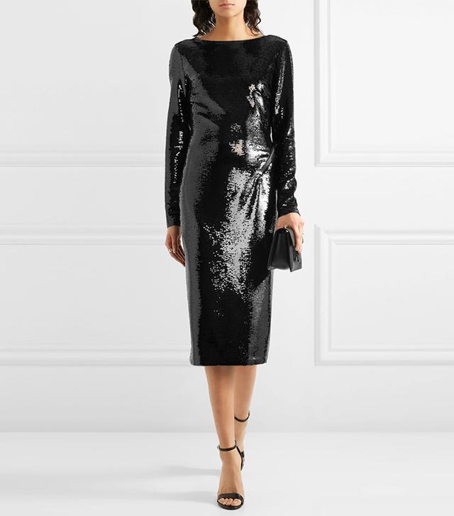 Open-back Sequined Satin Midi Dress