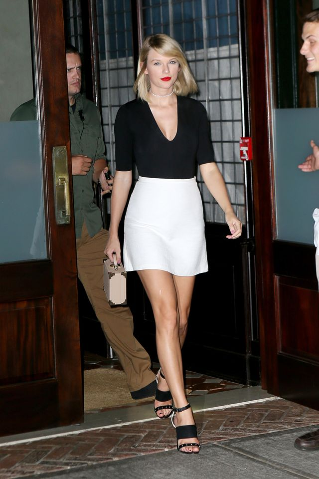 On Taylor Swift:Adornmonde Teo Silver Crystal Wrap Choker($146);Aritzia bodysuit; Related Jade Skirt($34); Aspinal of London The Mini Trunk Clutch($790); Louise et...