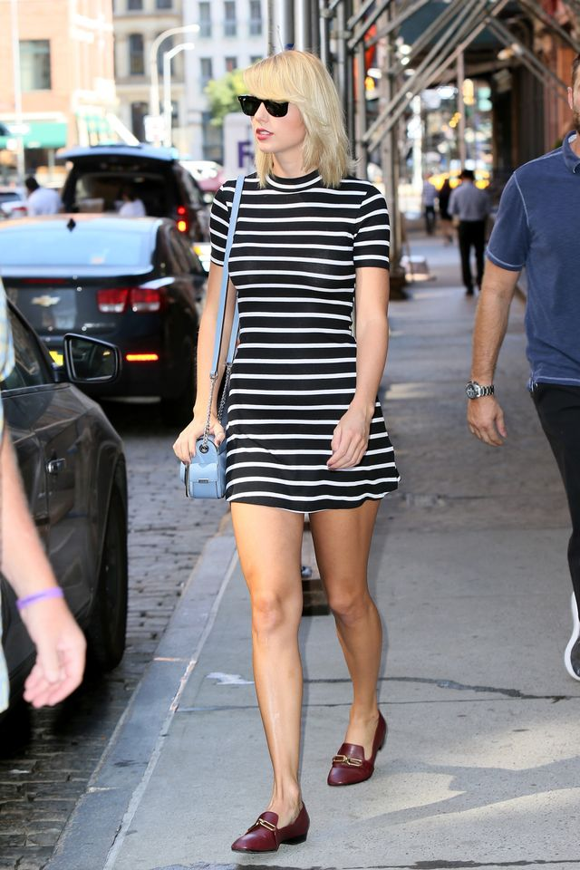 On Taylor Swift: After Party by Nasty Gal dress; Michael Kors Collection shoes.