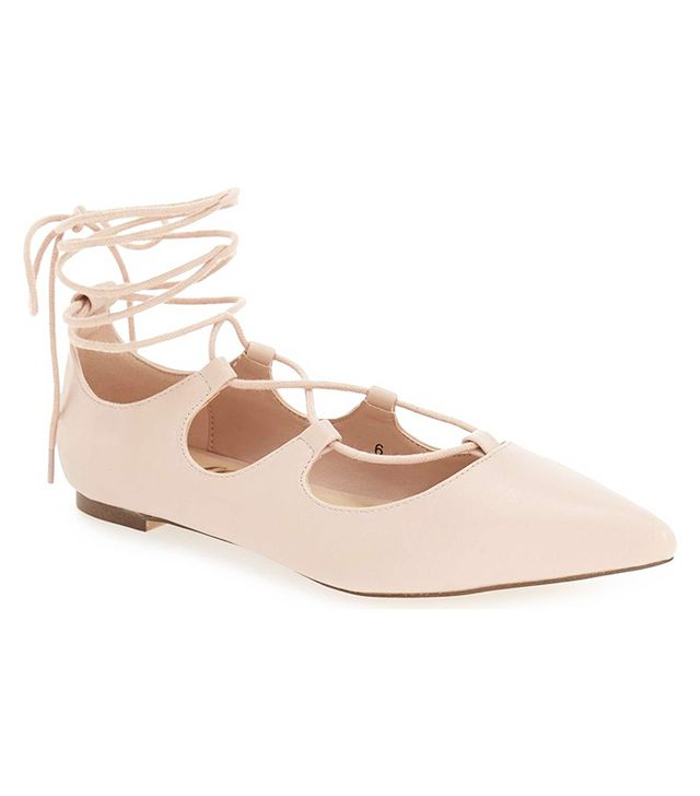 Callisto Rian Ghillie Lace Pointy Toe Flat