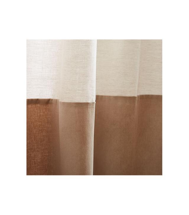 Linen Velvet Colorblock Curtain