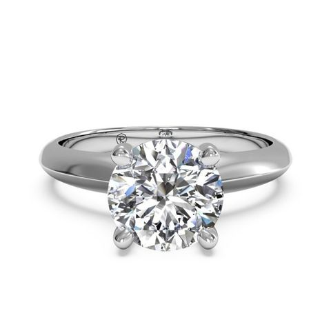 Solitaire Diamond Kife-Edge Engagement Ring