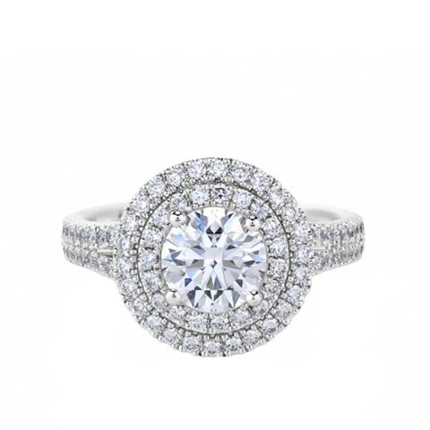 Aura Double Halo Solitaire Ring