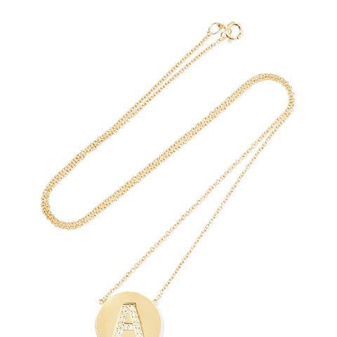 Letter 18k Gold Diamond Necklace