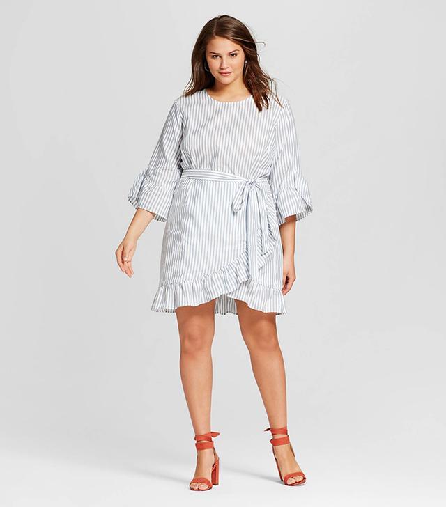 Who What Wear Plus Size Belted Ruffle Dress in Blue Stripe