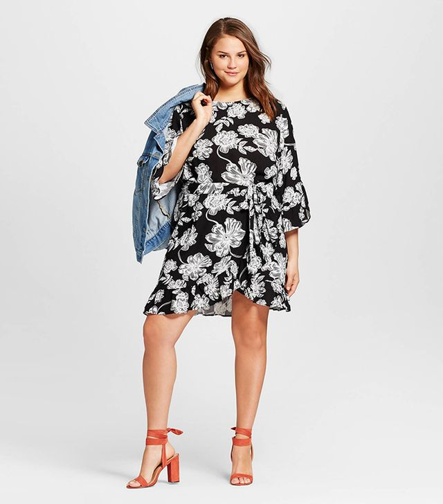 Who What Wear Plus Size Belted Ruffle Dress in Black Floral
