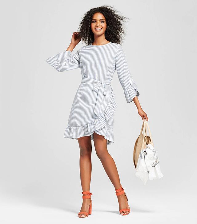 Who What Wear Belted Ruffle Dress in Blue Stripe