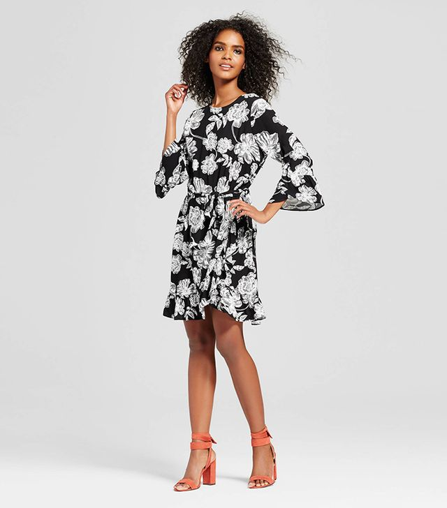 Who What Wear Belted Ruffle Dress in Black Floral