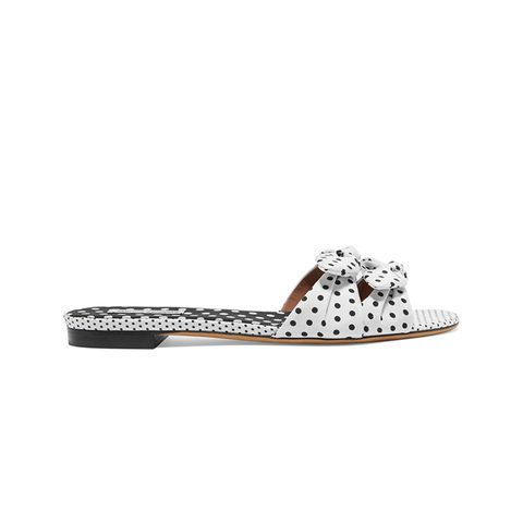 Cleo Bow-Embellished Polka-Dot Twill Slides