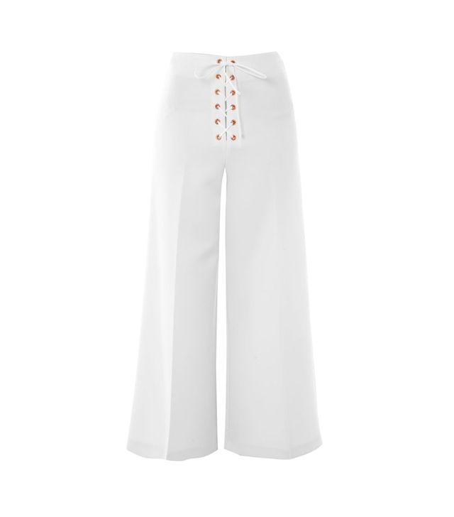 Lace Up Wide Leg Crop Trousers