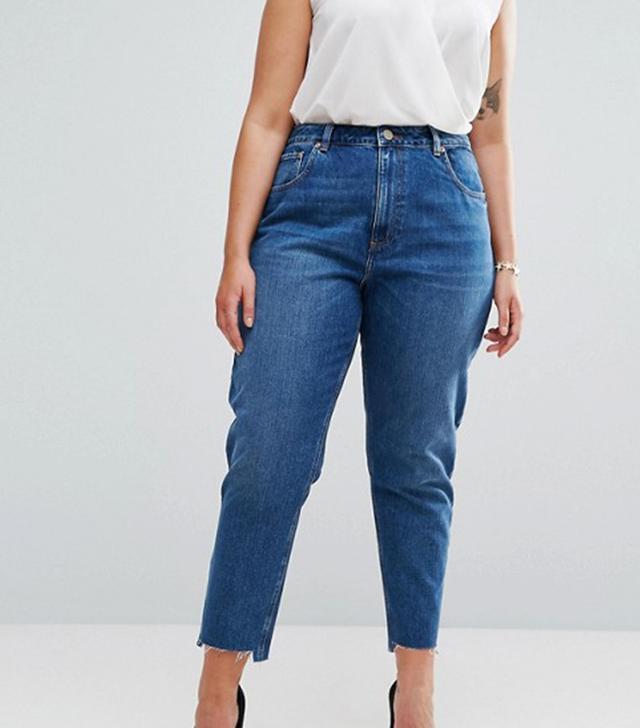 ASOS CURVE Original Mom Jeans in Harley Wash with Split & Stepped Hem