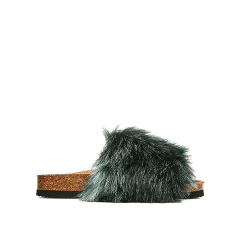 Flat Furry Sandals