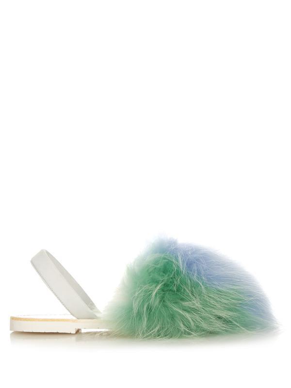 Tri-colour raccoon-fur sandals