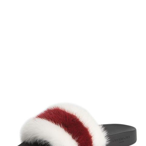 Striped Mink Fur Pool Slide Sandals