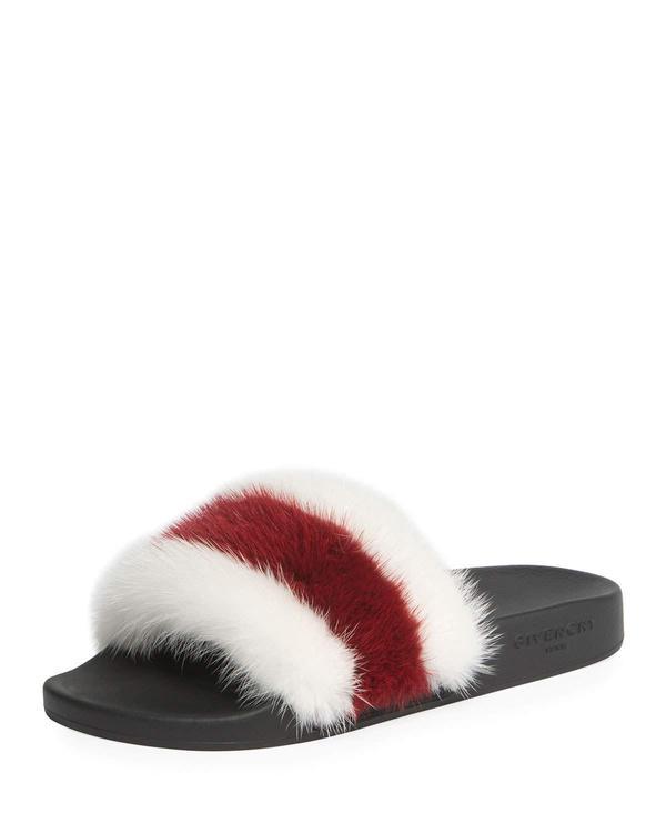 Striped Mink Fur Pool Slide Sandal