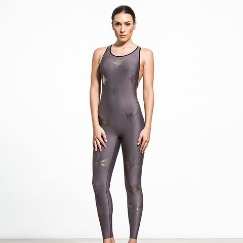 Motion Lux Knockout Unitard in Taupe/Gold