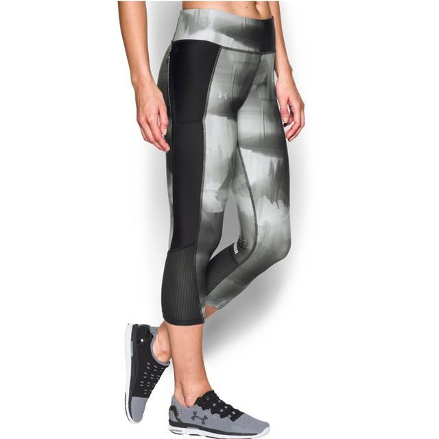 Under Armour Fly-By Printed Capri in Black/Reflective